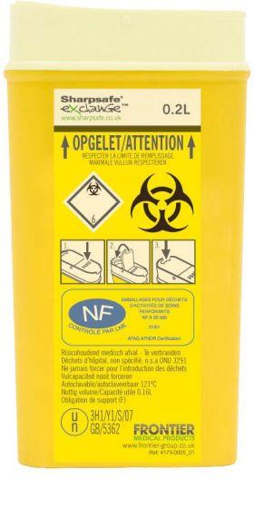 Kanülensammler Sharpsafe® 0.2l für selbsttherapie oder Krankenschwester, 10 Stücke