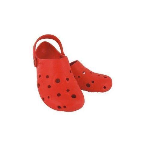 Red women's Globule clogs